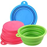 Homdox Silicone Pet Travel Bowl Foldable Pet Dog Food Water Portable Bowl Feeder 3 PCS/ Set