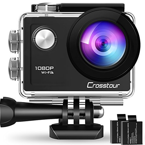 Crosstour Action Camera 1080P Full HD 14 MP anti-shake registrazione time-lapse impermeabile fino a 30 m 170° grandangolare sport camera con kit di accessori di montaggio