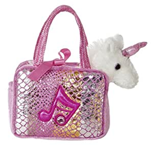 Aurora World Shimmery Fancy Pals Pink Plush Toy Pet Carrier with Music Note