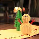 Uni Best 3pz 3D Pop Up biglietto di Natale, 3D vacanza biglietto con busta, taglio laser Merry Christmas Happy New Year biglietto d' auguri di compleanno, Carta, snowman, 5.9 x11.8 inch