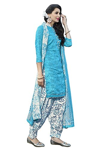 Women's SkyBlue Cotton Floral and Geometric Printed Patiala Suit - Patiala Suit
