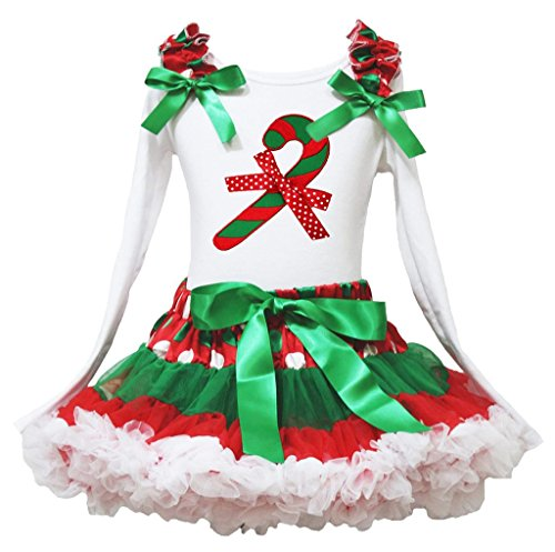 Christmas Dress Xmas Candy Stick L/s Cotton Shirt RWG Polka Dots Skirt Girl 1-8y (6-8 (Kostüm Baby Cotton Candy)
