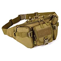 Huntvp Bumbag Tactical Military Waist Pack Large Waterproof Fanny Bag Molle Bum Bags for Outdoors Running Walking Trekking Brown
