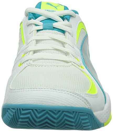 Puma Ballesta Wn's, Chaussures de sports en salle femme Blanc (White/Metallic/Blue/Yellow)