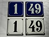 Emaille Schild Hausnummer 16 Schwarz-Weiß