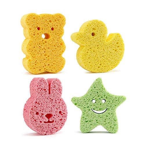 Baby Badeschwamm Moonvvin 4 Stück Nette Dusche Schwämme Cartoon Baby Badeschwamm Wäscher für Kopf Gesicht Körper (Körper-wäscher Einfache)