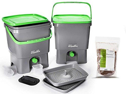 Skaza - mind your eco Bokashi Organico Composteur de Cuisine, Gris/Vert Citron