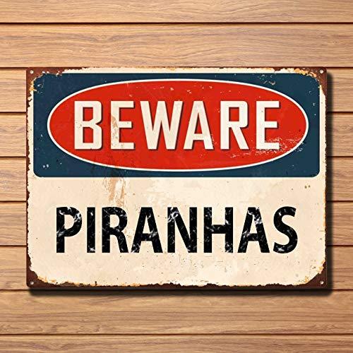 Garden Wall Plate (Beware Piranhas Metal Sign Vintage Style Home Garden Wall Door Plaque Vintage Metal Tin Sign Retro Tin Plate Sign Wall Art Decor)
