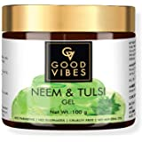 Good Vibes Neem and Tulsi Gel - 100 g - Promotes Hair Growth - Prevents Blackheads, Acne and Uneven Skin Tone - Hairfall and