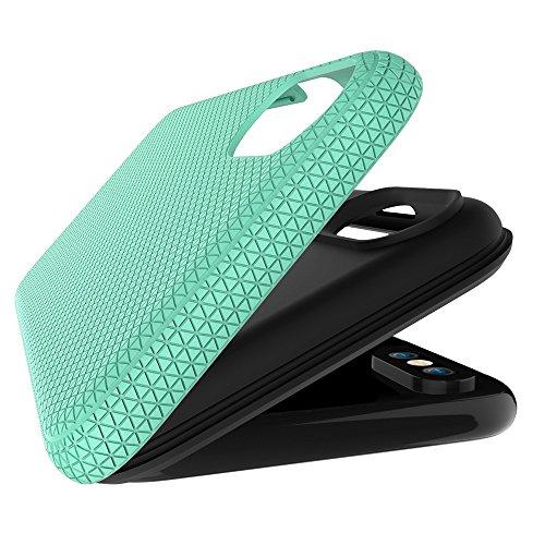 JIALUN-étui pour téléphone Pour IPhone X, double couche double protection PC + TPU résistant aux chocs antichoc Hybride Armor Shell Cover Case ( Color : Black ) Green
