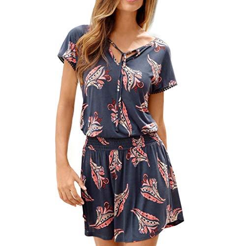 Sasstaids Damen Boho Sommerkleid V Ausschnitt Blumendruck Kurzarm lässig Minikleid Strandkleid