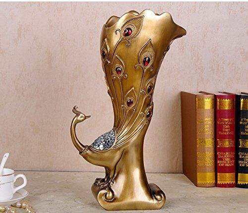 öbel Ornamente Dekoriert Vase europäischen Mode Kreative Hause Pfau Wohnzimmer Blume Handwerk (Farbe : Gilt) ()