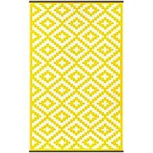 Green Decore 90 x 150 cm Alfombra Ecológica para Interiores y Exteriores de Plástico Reciclado - Ligera y Reversible - Indoor / Outdoor, Amarillo / Blanco