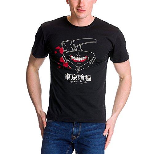 Tokyo Ghoul - T-shirt pour hommes Kaneki Mask masque - Coton - Noir - Elbenwald - M