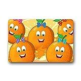 DOUBEE Design Bow Orange Frucht Herzlich Fussmatte Premium Schmutzmatte Fußabstreifer 46cm X 76 cm