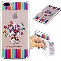 Funda iPhone 7PLUS silicona transparente Ultra-fino TPU suave Carcasa Bumper DECHYI Patrón arte-carosello