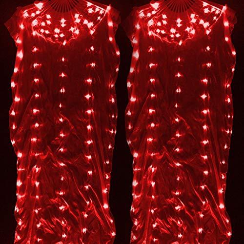 Wangmei Bauchtanz LED-Beleuchtung Ventilator Bunt Seide Fan Glühende Tanz Requisiten, Red, One Size