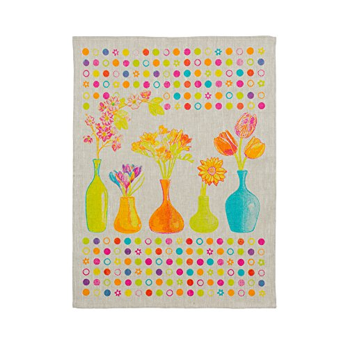 COINHO® 3er-Set Geschirrtücher / Handtuch / Trockentuch /Handtücher / Küchentücher / Geschirrhandtücher / Geschirrtuch 45x60 cm aus 100% Leinen,Frühlingsblumen - Muster Handtuch-set