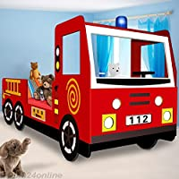 Deuba 100311 Fire Engine Bed 200 x 90 cm for Toddler Kids Wooden Set with Single Slatted Frame Truck Boys and Girls Childrens