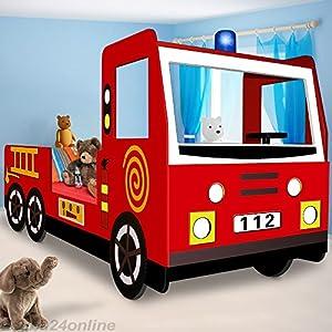 Kinderbett Jugendbett Juniorbett Bett Autobett Feuerwehrbett Spielbett Kindermöbel 205 cm x 94,5 cm x 103 cm inkl…