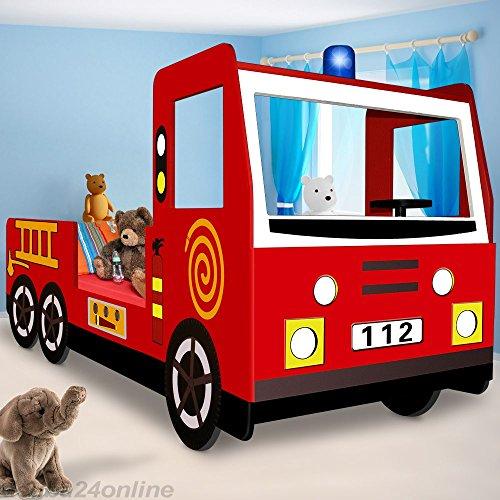 Deuba Kinderbett Jugendbett Juniorbett Bett Autobett Feuerwehrbett (205 cm x 94,5 cm x 103 cm). inkl. Lattenrost rot