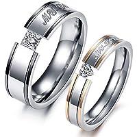 Titanium Steel Filled Diamond Couple Ring Set for Male US 8 Female US 7