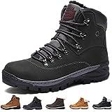 SIXSPACE Herren Winterstiefel Warm Gefütterte Winterschuhe Outdoor Schneestiefel Wanderschuhe Rutschfeste Arbeitsschuhe Winter Boots (Schwarz 45 EU)