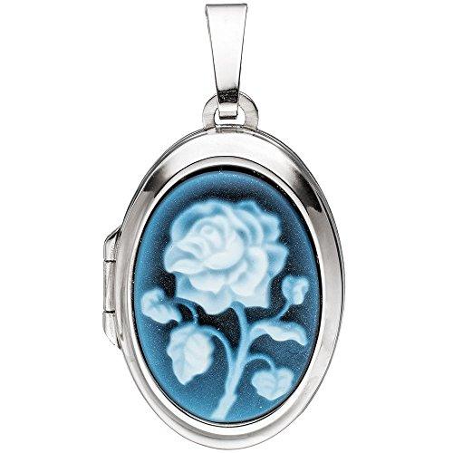 Medaillon 2 Fotos Anhänger zum Öffnen blaue Achat Gemme & Rose oval 925 Silber Oval Rose