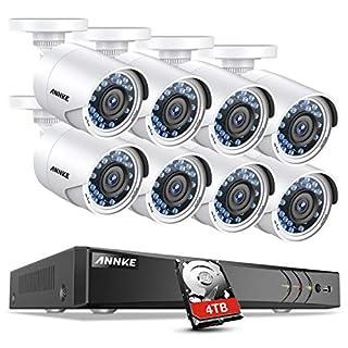 ANNKE 1080P Überwachungskamera System 8 x 1080P Wetterfest HD-Kamera Außen und 8CH 3.0MP DVR mit 4TB Festplatte 1080P Sternenlicht FHD Wetterfeste Überwachungskamera Set Bewegungsmelder IR Nachtsicht