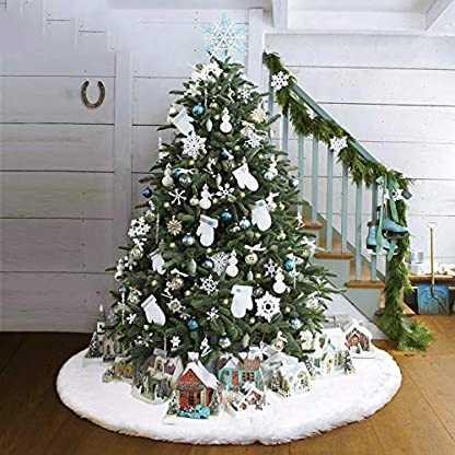 Lovemay-Weihnachtsbaum-Rock-Weihnachtsbaum-Decken-Kunstpelz-Weien-Baum-Rcke-fr-Christbaumstnder-Weihnachtsdekoration-Neujahr-Party-Deko-120CM