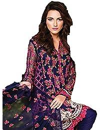 Karishma Creation Women's Blue Georgette Fusion Dress Material/Salwar Suit [Free Size_SDM 3 [KC_858]]