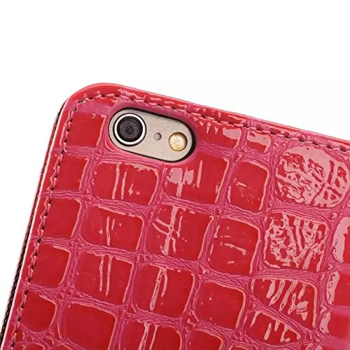 JIALUN-Telefon Fall Krokodil-Muster-Oberflächen-PU-lederner Kasten-Abdeckungs-Mappen-Standplatz-Fall für iphone 6 6s ( Color : Blue , Size : Iphone6 6s ) Rose
