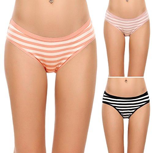 Ekouaer 3er Pack Damen Pantys Unterwäsche Hot Pants Dessous Hipster Boxershorts mit Karo Spitze Schleife, farbe: Rosa Orange Schwarz, Gr. EU 40 (Herstellergröße: L) (3-pack-panty)