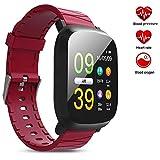 Smart Armband, Herzfrequenz-Blutdruck-Sport-Armband Bluetooth-Pedometer, Wasserdichtes Sport-Armband,Red