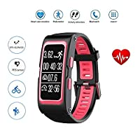 Heart Rate GPS Waterproof Smart Watch Wristband Bracelet Sport Fitness Tracker Sleep monitor Pedometer Messages Reminder Multi-sport Mode Activity Tracker for Android iOS