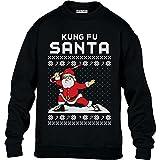 Kung Fu Santa Lustige Geschenkidee Ugly X-Mas Kinder Pullover Sweatshirt L 134/146 (9-11J) Schwarz