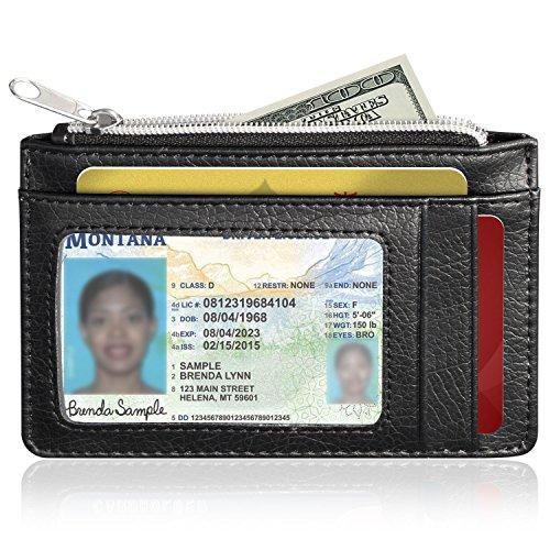 RFID Blocking Geldbörse Leder (9Slots), GreatShield diebstahlsicheres Kreditkarte Halter [5Kartenschlitze | 3Cash Fächer | 1Passport Slot] für Männer & Frauen (schwarz) (Leder Echt-passport-halter)