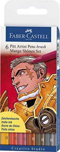 Faber-Castell 167131 - Pack de 6 rotuladores para dibujo Manga Pitt Shonen Set