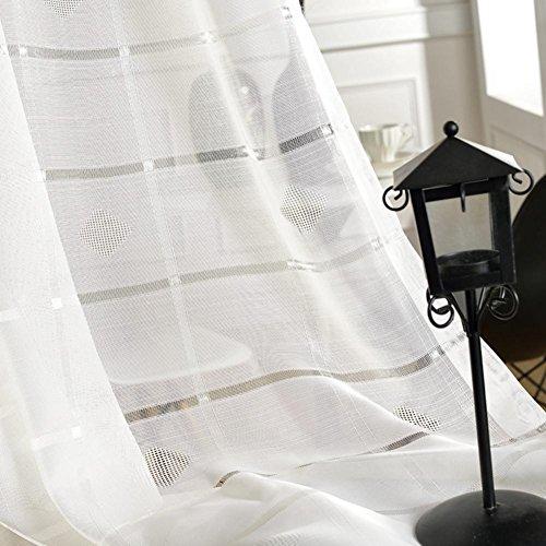 Gardinen und Vorhänge Vorhänge Transparente weiße Gitter hohe Qualität Tüll Vorhänge für Behandlungen für Fenster Endprodukt Wohnzimmer Kabelführung über ein Bedienfeld 1pc(200*270 cm)