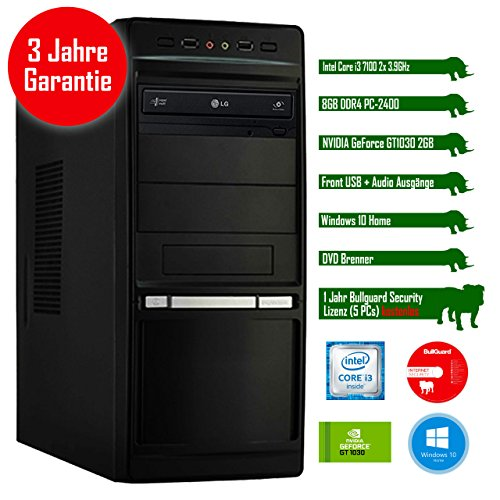 Rhino Office i7110 W10 mit Windows 10 I Intel Core i3 7100 2x 3.9 GHz I 8 GB DDR4 I NVIDIA GeForce GT1030 2 GB I MSI I 120 GB SSD I DVD-Brenner I Xilence Cooler & Netzteil I USB 3.0 | Gigabit-LAN | 7.1-Kanal-Sound I Bullguard Internet Security Lizenz 1 Jahr / 5 PCs I 36 Monate Garantie