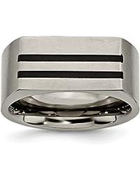 ICE CARATS Titanium 10mm Black Enamel Stripes Brushed Wedding Ring Band Man Fancy Fashion Jewelry Gift Set For Women Heart