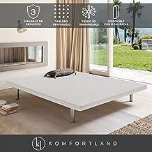 Base tapizada 3D One de Komfortland Medida 150x200 cm Patas 25 cm - Normales Color Blanco