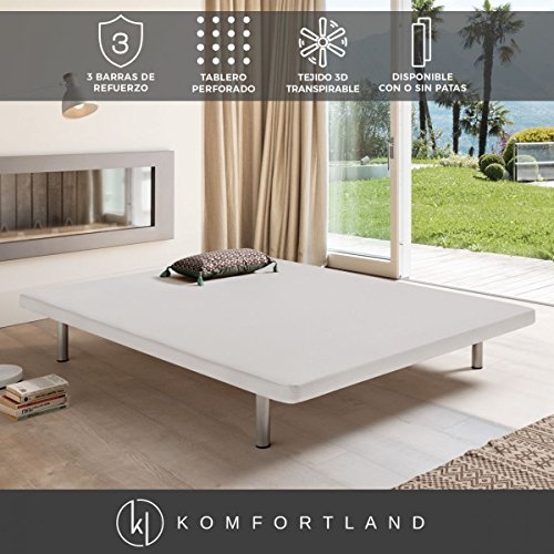 Komfortland Base tapizada 3D One Medida 135x190 cm Patas 25 cm - Normales Color Blanco