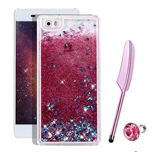 Huawei p8 lite Glitzer Hülle, Liquid Case für Huawei P8 Lite,Vioela Schöne Cool 3D Fließen Flüssig wasser Schwimmend Treibsand Stern Bling Luxus Shiny Glanz Sparkle Kristall Crystal Hard Haut zurück Tasche Schutzhülle für Huawei p8 lite