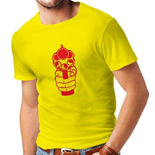 N4061 T-shirt da uomo Sparare (Large Giallo Rosso)