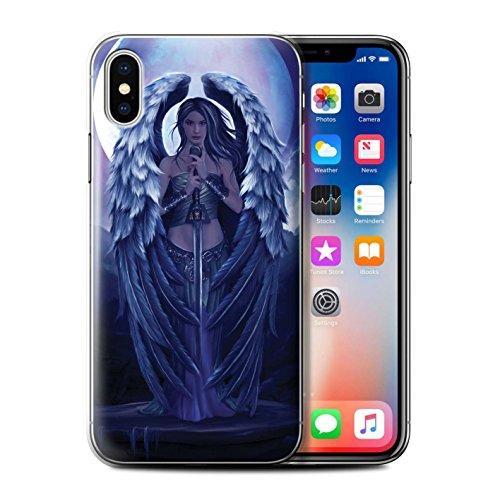 Offiziell Elena Dudina Hülle / Case für Apple iPhone X/10 / Schwarzes Herz Muster / Superheldin Kollektion Schutzengel