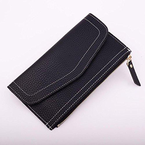 Portafoglio Donna, Tpulling Portafogli in pelle chiusura lampo di modo della borsa della frizione della signora Long della borsa (E) B