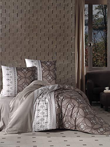 ZIRVEHOME Bettwäsche 240x220 cm. 100% Baumwollsatin, Braun, Orientalisch Muster, King Size, Reißverschluss, Model: Ivore V2