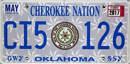 Oklahoma USA Nummernschild, Metallschild, Cherokee Nation