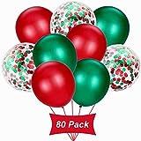 Gxhong Globos de Confeti Verde Rojo, Globos de Navidad de 12 Pulgadas, Globos de Confeti Globos Decorativos Globos de Colores Globos Fiesta de Navidad Globos de Helio de látex (80 Piezas)